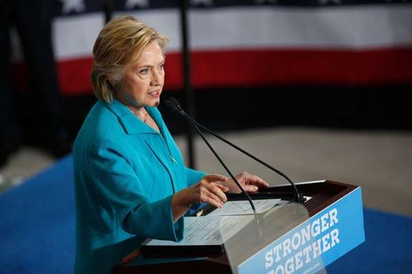 Democratic presidential nominee Hillary Clinton speaks at campaign