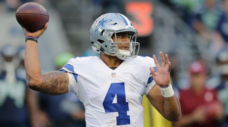 Dallas Cowboys quarterback Dak Prescott passes against the