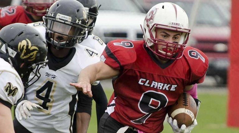 Clarke's Corey Rosenbloom runs against West Hempstead on