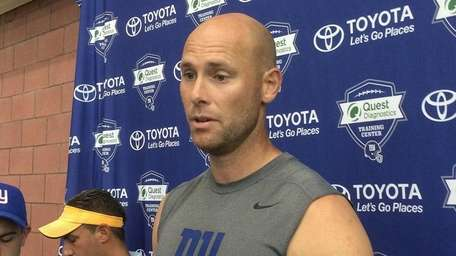 Giants kicker Josh Brown speaks with reporters at