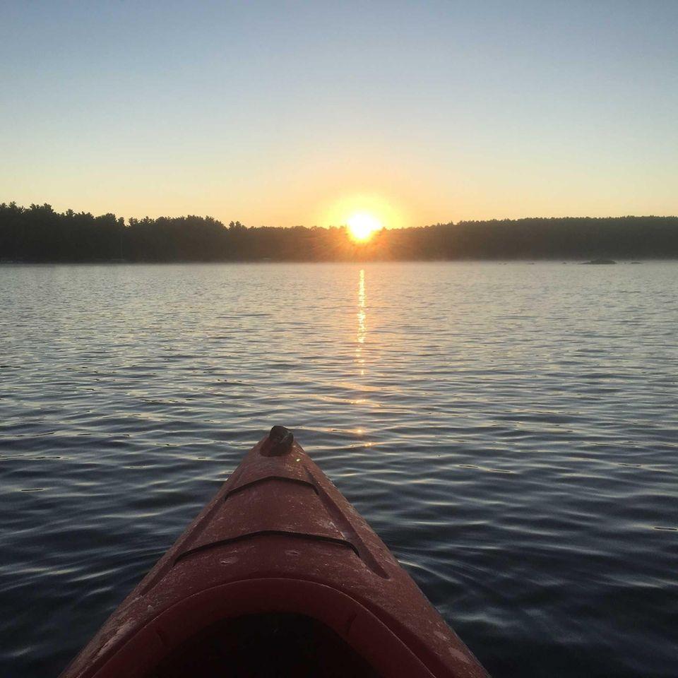 Kayaking at sunrise. Otis, MA