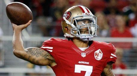 San Francisco 49ers quarterback Colin Kaepernick throws the