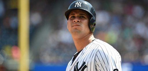 New York Yankees catcher Gary Sanchez looks on