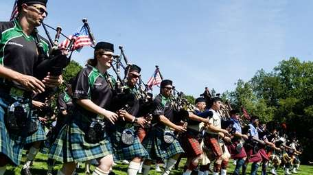 Pipe bands play for the crowds during the