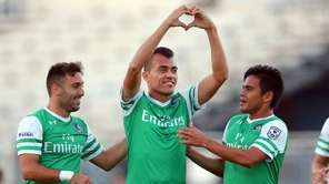 New York Cosmos midfielder Juan Arango (18) celebrates