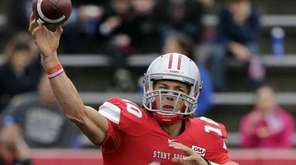 Stony Brook Seawolves quarterback Joe Carbone (10) lets