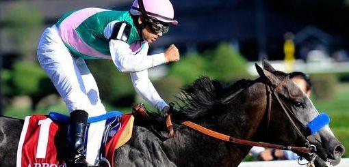 Jockey Mike Smith celebrates aboard Arrogate after winning
