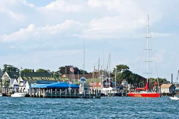 Greenport Harbor in Greenport, looking from Shelter Island,