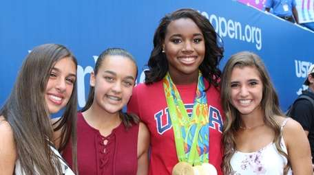 From left, Kidsday reporters Nicole Aponte, 13, of