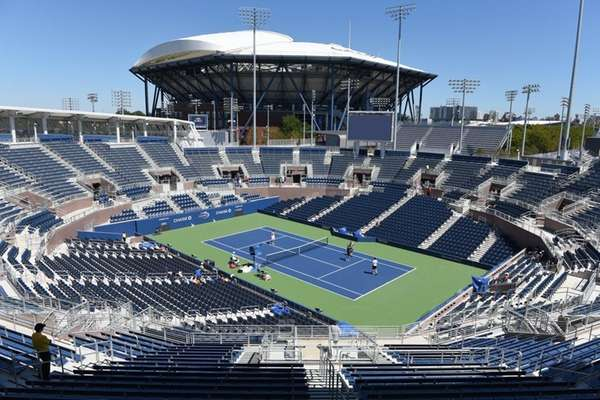 A view of the Grandstand with Arthur Ashe