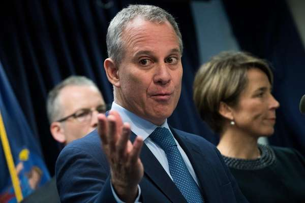 New York Attorney General Eric Schneiderman speaks as