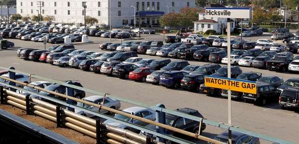 Commuters fill the parking lot at the LIRR