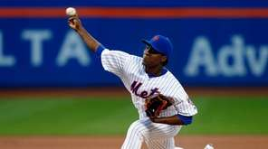 Rafael Montero of the Mets pitches in the
