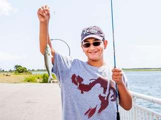 Steven Christophorou, 12, of West Hempstead catches his