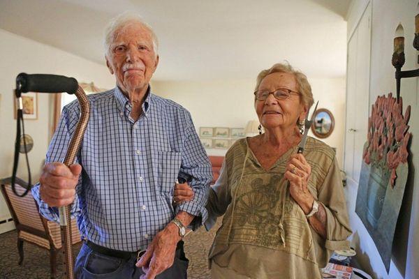 Alan Barnett holds the cane Tuesday he used