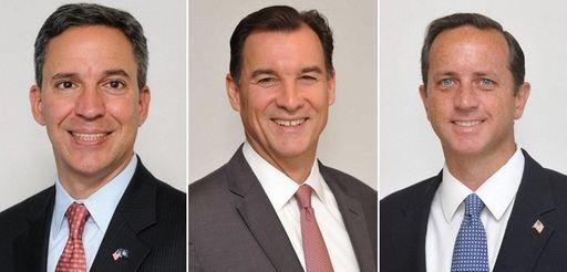 From left, state Sen. Jack Martins, Thomas Suozzi