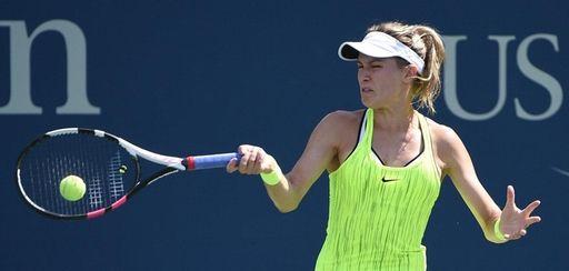 Eugenie Bouchard of Canada returns to Katerina Siniakova