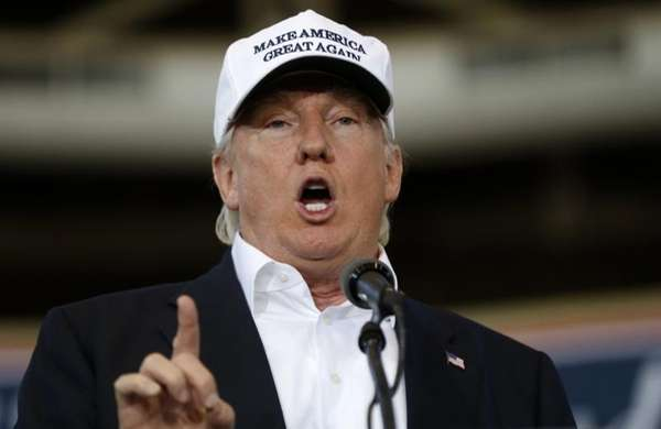 Republican presidential candidate Donald Trump speaks in Des