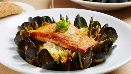 Atlantic salmon is served at Crazy Fish Bar