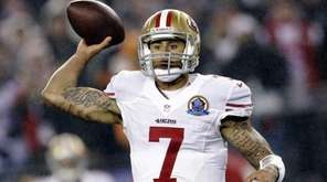 San Francisco 49ers quarterback Colin Kaepernick passes against
