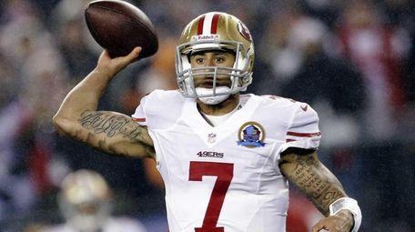 San Francisco 49ers quarterback Colin Kaepernick passes against
