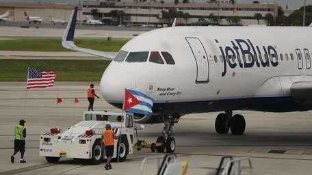 JetBlue Flight 387 pushes back from the gate