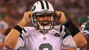 New York Jets quarterback Bryce Petty  gets ready