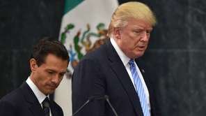 Presidential candidate Donald Trump, right, and Mexican President