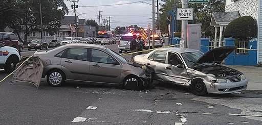 Two people were injured when the cars they