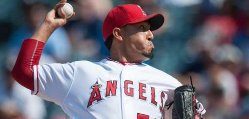 Los Angeles Angels' Fernando Salas pitches in the
