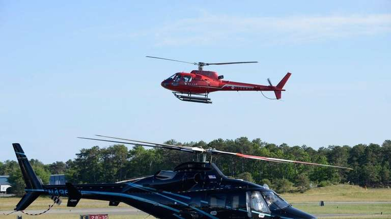 Helicopters at East Hampton Airport on Friday, June