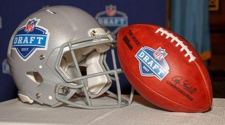 The 2017 NFL Draft helmet and football are