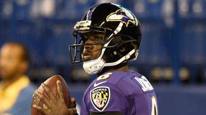 Baltimore Ravens quarterback Jerrod Johnson (8) before an