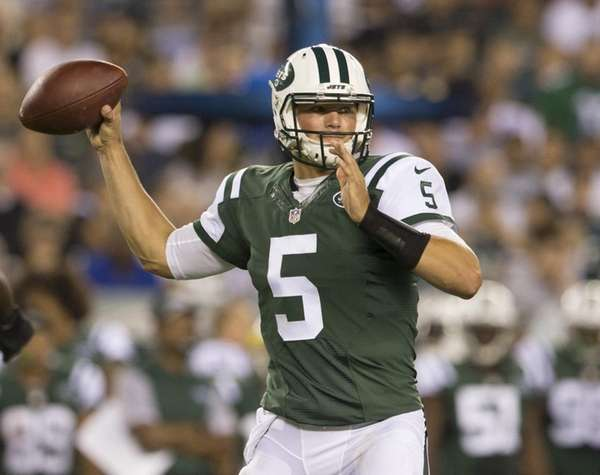 Christian Hackenberg #5 of the New York Jets