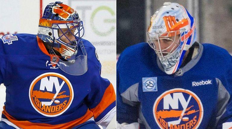 This Newsday composite image shows Islanders goalies Jaroslav