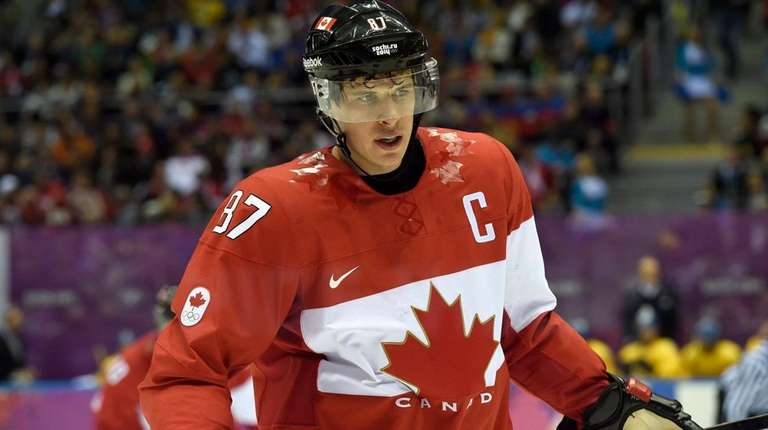 Canada's Sidney Crosby skates during the first period