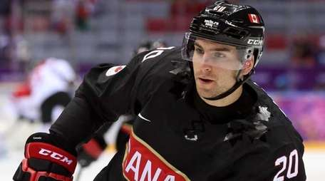 John Tavares warms up prior to Canada's Group