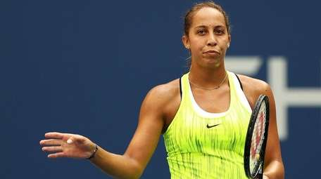 Madison Keys of the United States reacts against