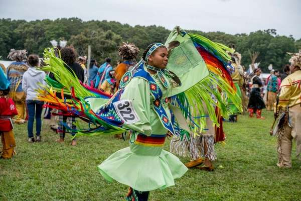 Dancers perform during the 70th annual Shinnecock Powwow
