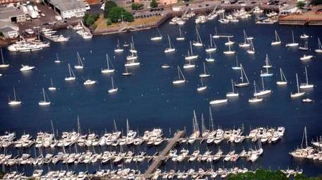 An aerial view of boats in the waters