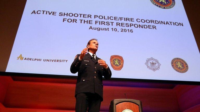 Nassau police Chief of Department Steven Skrynecki speaks
