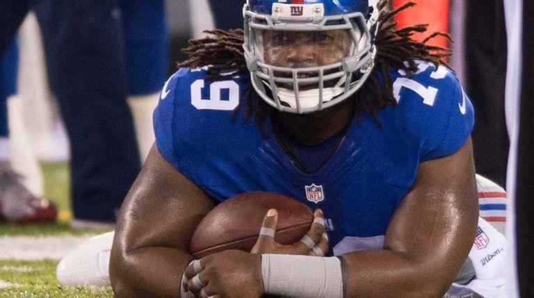 New York Giants defensive tackle Montori Hughes (79)