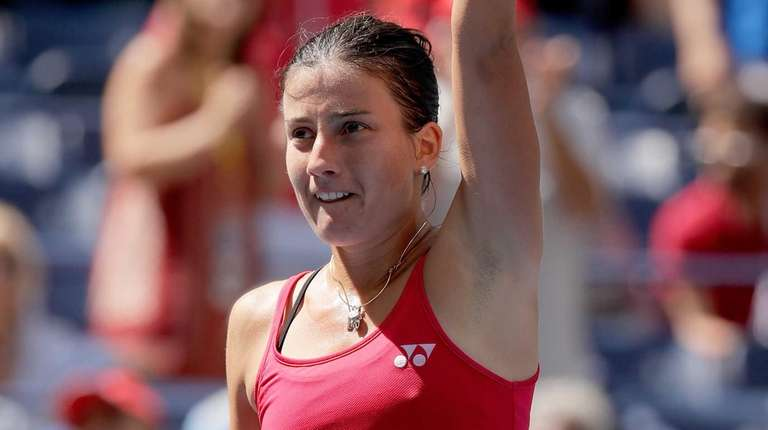 Anastasija Sevastova of Lativa celebrates her win over