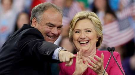 Hillary Clinton and her running mate Tim Kaine