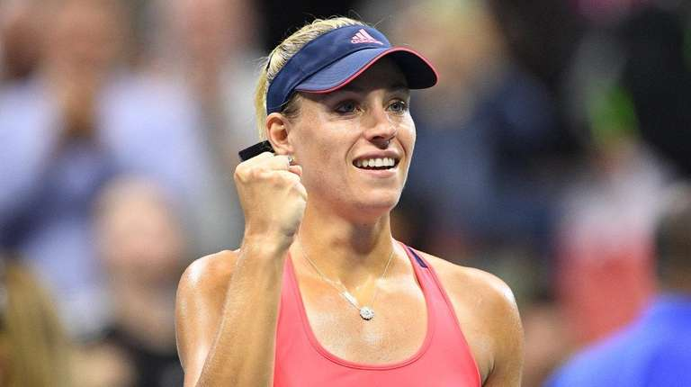Angelique Kerber of Germany reacts after she wins