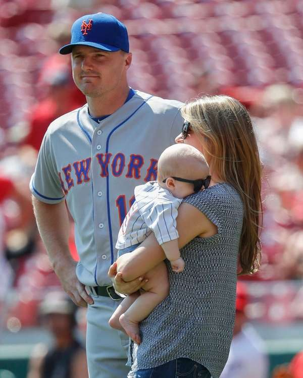 New York Mets right fielder Jay Bruce, left,