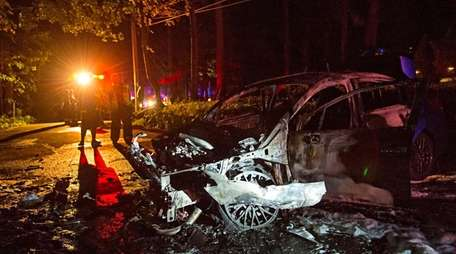 Officials said a car caught fire after it