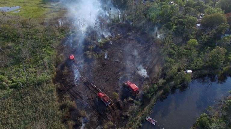 A brush fire near West Oak Recreation Club