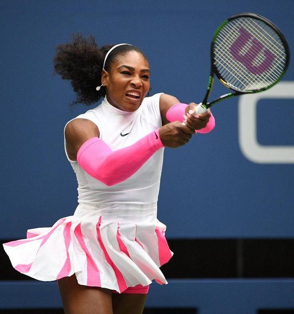 Serena Williams returns to Yaroslava Shvedova of Kazakhstan