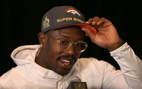 Denver Broncos' Von Miller speaks to the media
